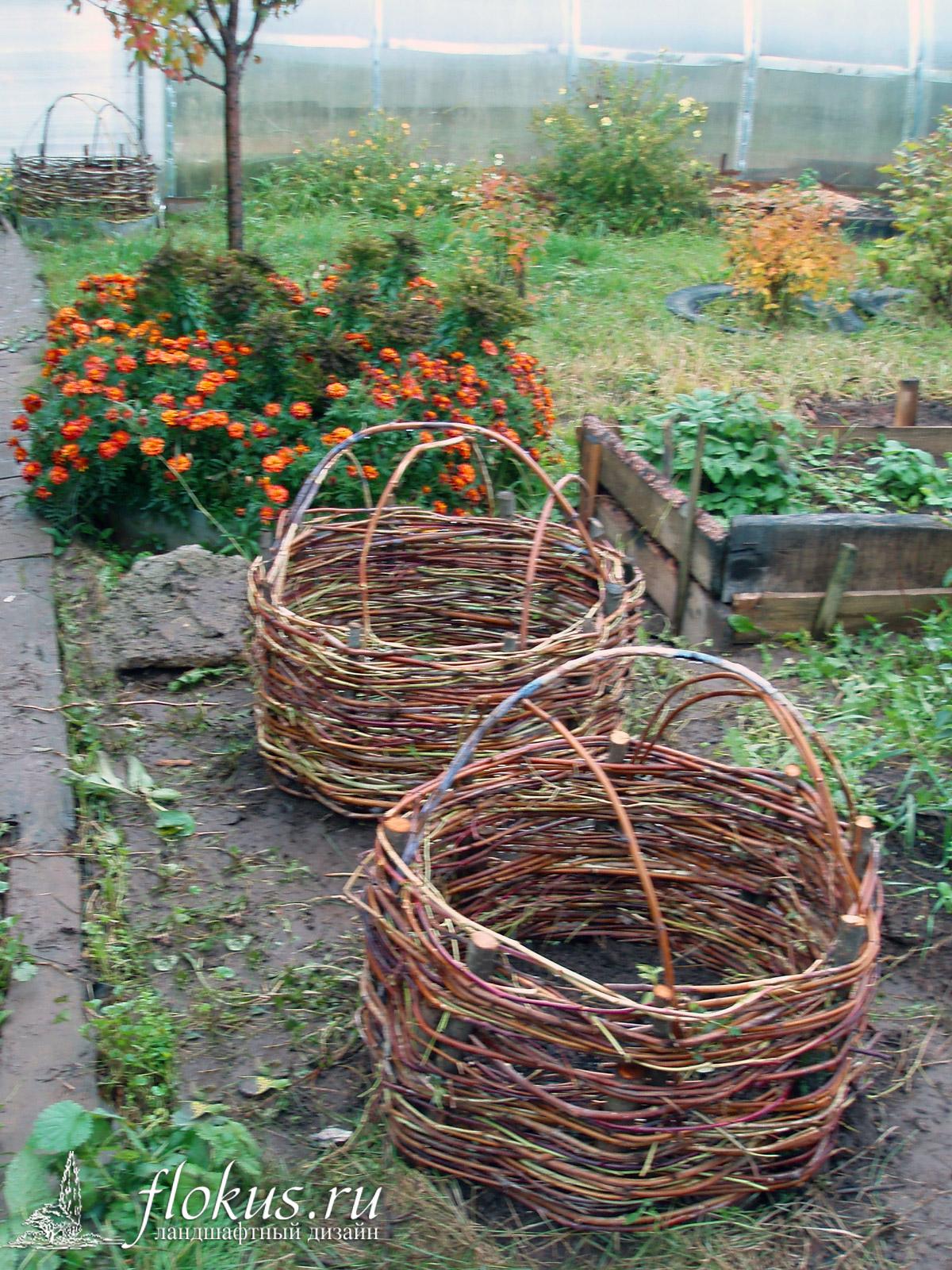 Плетеные корзины для сада своими руками 98